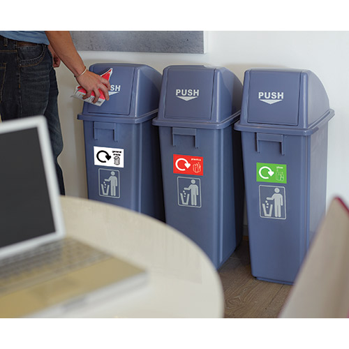 WB0985 - Recycling Bins, Set of 3 supplied with 5 identification stickers-1160