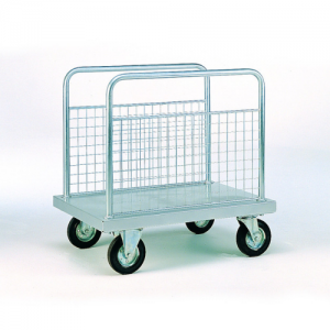 Zinc Plated Platform Trolleys with Mesh Sides-0