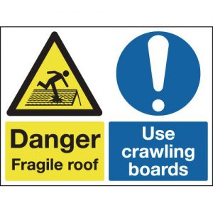 Danger Fragile Roof Use Crawling Boards-0