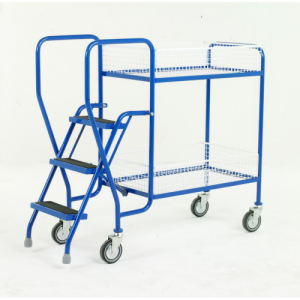 Warehouse Order Picking Trolley with Steps and Removable Baskets-0