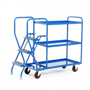 Warehouse Order Picking Trolley with Steps and Plywood or Steel Shelves-0