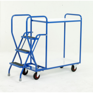 Warehouse Order Picking Trolley with Steps and White Shelves-0